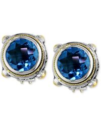 Effy Collection | Blue Topaz Round Stud Earrings (7-5/8 Ct. T.w.) In 18k Gold And Sterling Silver | Lyst