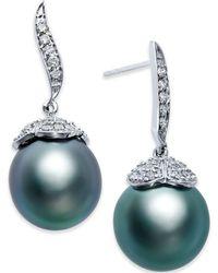 Macy's - Black Tahitian Pearl (11mm) And Diamond (3/8 Ct. T.w.) Stud Earrings In 14k White Gold - Lyst