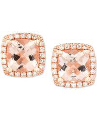 Macy's - Morganite (1-5/8 Ct. T.w.) & Diamond (1/6 Ct. T.w.) Cushion Stud Earrings In 14k Rose Gold - Lyst