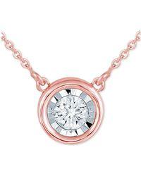 "Macy's - Diamond Bezel 16"" Pendant Necklace (1/8 Ct. T.w.) - Lyst"