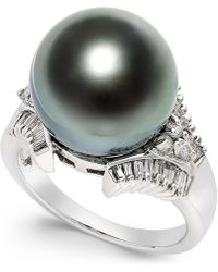 Macy's - Cultured Tahitian Black Pearl (13mm) And Diamond (3/5 Ct. T.w.) Ring In 14k White Gold - Lyst