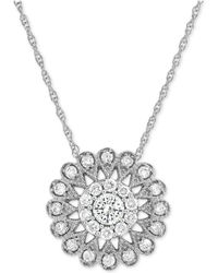 Macy's - Diamond Flower Pendant Necklace (1/2 Ct. T.w.) In 14k White Gold - Lyst