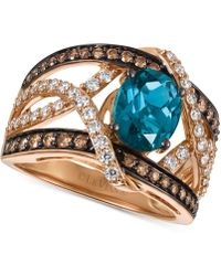 Le Vian | London Blue Topaz (2 Ct. T.w.) And Diamond (9/10 Ct. T.w.) Statement Ring In 14k Rose Gold | Lyst