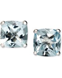 Macy's - 14k White Gold Earrings, Aquamarine Cushion Studs (1-5/8 Ct. T.w.) - Lyst