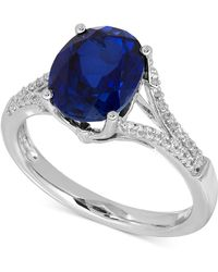 Macy's - Lab-created Sapphire (3-5/8 Ct. T.w.) And White Sapphire (1/5 Ct. T.w.) Ring In Sterling Silver - Lyst