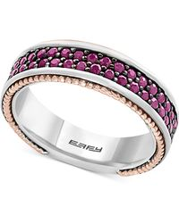 Effy Collection - Men's Ruby Band (1-1/2 Ct. T.w.) In Sterling Silver, 18k Rose Gold And Black Rhodium - Lyst