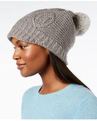 Surell - Rabbit-fur Pom Pom Knit Hat - Lyst