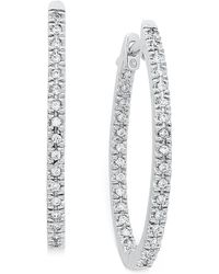 Macy's - Diamond Oval In-and-out Hoop Earrings In 14k White Gold (1/2 Ct. T.w.) - Lyst