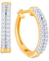 Macy's - Diamond Two-row Hoop Earrings (1/2 Ct. T.w.) In 14k Gold Or White Gold - Lyst
