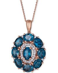 "Macy's - London Blue Topaz (4-5/8 Ct. T.w.) & Diamond (1/8 Ct. T.w.) 18"" Pendant Necklace In 14k Rose Gold - Lyst"