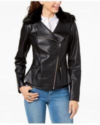 INC International Concepts - I.n.c. Faux-fur-trim Peplum Moto Jacket, Created For Macy's - Lyst