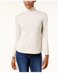 Style & Co. - Petite Mock-neck Ruched-sleeve Top - Lyst