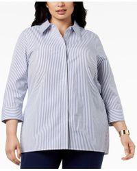 Kasper - Plus Size Striped Shirt - Lyst