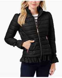 Bernardo - Ruffled Packble Puffer Coat - Lyst