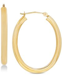 Macy's - Polished Oval Hoop Earrings In 14k Gold Or White Gold - Lyst