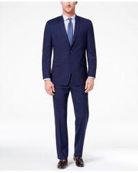 Marc New York - Classic-fit Stretch Dark Blue Plaid Suit - Lyst