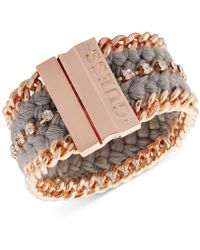 Guess - Rose Gold-tone Crystal & Braided Thread Magnetic Bracelet - Lyst