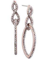 Anne Klein - Pavé Interlocked Link Double Drop Earrings - Lyst