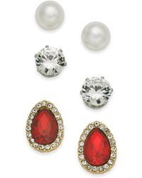 Charter Club - Two-tone 3-pc. Set Imitation Pearl, Crystal And Stone Stud Earrings, Created For Macy's - Lyst