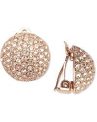 Nina - Gold-tone Pavé Dome Clip-on Earrings - Lyst