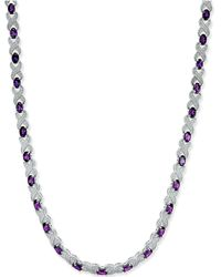 Macy's - Amethyst (17 Ct. T.w.) And Diamond Accent Collar Necklace In Sterling Silver - Lyst
