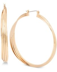 Kenneth Cole - Gold-tone Extra-large Multi-row Twisted Hoop Earrings - Lyst
