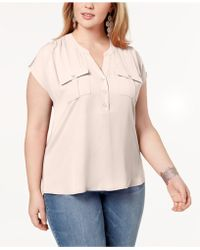 INC International Concepts - I.n.c. Plus Size Mixed-media Utility Shirt, Created For Macy's - Lyst