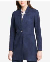 Tommy Hilfiger - One-button Faux-suede Long Blazer - Lyst