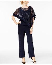 R & M Richards - Petite Sequined Lace Pantsuit - Lyst