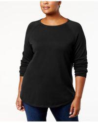 Karen Scott - Plus Size Curved-hem Cotton Sweater, Created For Macy's - Lyst