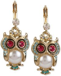 Lucky Brand Silver And Gold Tone Shaky Owl Earrings In