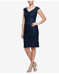 Alex Evenings - Sequined Rosette Lace Dress - Lyst