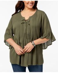 Style & Co. - Plus Size Pintucked Ruffled Peasant Top, Created For Macy's - Lyst