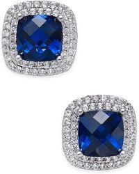Macy's - Lab-created Sapphire (2-1/6 Ct. T.w.) And White Sapphire (1/3 Ct. T.w.) Square Stud Earrings In Sterling Silver - Lyst