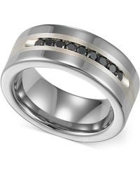 Triton | Men's Tungsten And Sterling Silver Ring, Channel-set Black Diamond Accent Wedding Band | Lyst