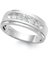 Macy's - Men's Five-stone Diamond Ring In 10k White Gold (1/2 Ct. T.w.) - Lyst