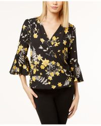 INC International Concepts   Petite Printed Surplice Bell-sleeve Top, Created For Macy's   Lyst