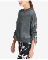 DKNY - Sport Relaxed Cinch-sleeve Hoodie - Lyst