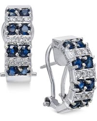 Macy's | Sapphire (1-5/8 Ct. T.w.) And Diamond (1/4 Ct. T.w.) Curved Drop Earrings In 14k White Gold | Lyst