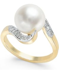 Macy's - Cultured Freshwater Pearl (10mm) And Diamond (1/6 Ct. T.w.) In 14k Gold - Lyst