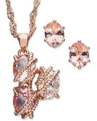 "Charter Club - Rose Gold-tone Wrapped Crystal Pendant Necklace & Stud Earrings Set, 15"" + 3"" Extender, Created For Macy's - Lyst"