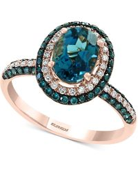 Effy Collection - Effy® London Blue Topaz (1-1/2 Ct. T.w.) & Diamond (1/2 Ct. T.w.) Ring In 14k Rose Gold - Lyst