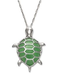 Macy's - Dyed Jadeite Turtle Pendant Necklace In Sterling Silver - Lyst