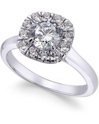 X3 - Certified Diamond Halo Engagement Ring (1-3/8 Ct. T.w.) In 18k White Gold - Lyst