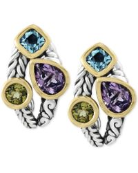 Effy Collection - Multi-gemstone Deco-style Stud Earrings (5-1/10 Ct. T.w.) In Sterling Silver And 18k Gold - Lyst
