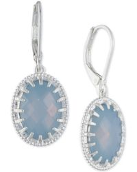 Lonna & Lilly - Silver-tone Oval Stone Drop Earrings - Lyst