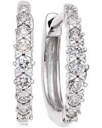 Macy's - Diamond Hoop Earrings (1/4 Ct. T.w.) In 14k White Gold - Lyst