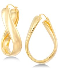 Signature Gold - Wavy Hoop Earrings In 14k Gold Over Resin - Lyst