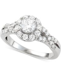 Macy's - Diamond Halo Engagement Ring (1-1/7 Ct. T.w.) In 14k White Gold - Lyst