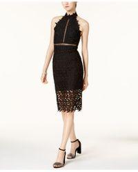 Bardot - Gemma Lace Illusion Halter Dress - Lyst